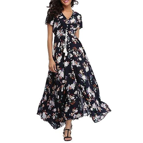 6350d23454 VOGMATE Women's Long Split Button Up Summer Maxi Dress Floral Beachwear  Holidy Dress High Waist with