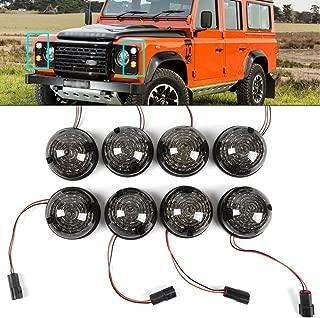 8PCs Led Smoked Lens Lamp Upgrade Kit Part for 1983-1990 Land Rover 90/110 1990-2016 Defender Front Rear Fog Side Indicator Turn Signal Lights USA Stock