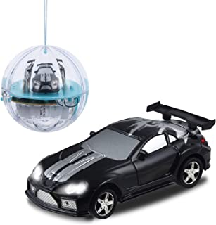 haomsj RC Cars for Kids Rechargable Pocket Racers 2.4GHz RC Remote Control Car Toys for Boys Girls in Ball with LED Light (Black, 1)