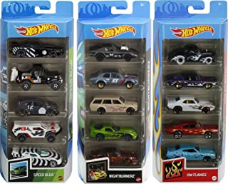 Hot Wheels Fast Pack 5-Pack Bundle with 15 Cars, 3 5-Packs of 1:64 Scale Racing Vehicles Themed Speed Blur, Nightburnerz &...