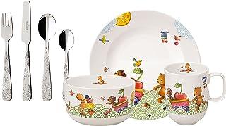 Villeroy & Boch - Hungry as a Bear couverts de table pour enfants, 7pièces, porcelaine Premium, blanc/multicolore