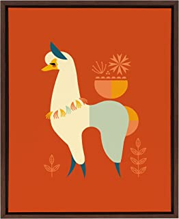 Kate and Laurel Sylvie Mid-Century Llama Framed Canvas Wall Art by Amber Leaders, 18x24 Walnut Brown, Whimsical Llama Home...