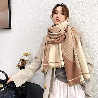 UKKD Schal Gestreifter Schal Weiblicher Winter Warme Dicke Schal Kaschmirschals Schal Wraps Frauen Decke Foulard Stola