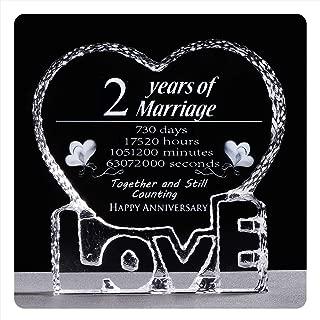YWHL 2 Year 2nd Wedding Anniversary Crystal Sculpture Keepsake Gifts for Her Wife Girlfriend Him Husband (2 Year)