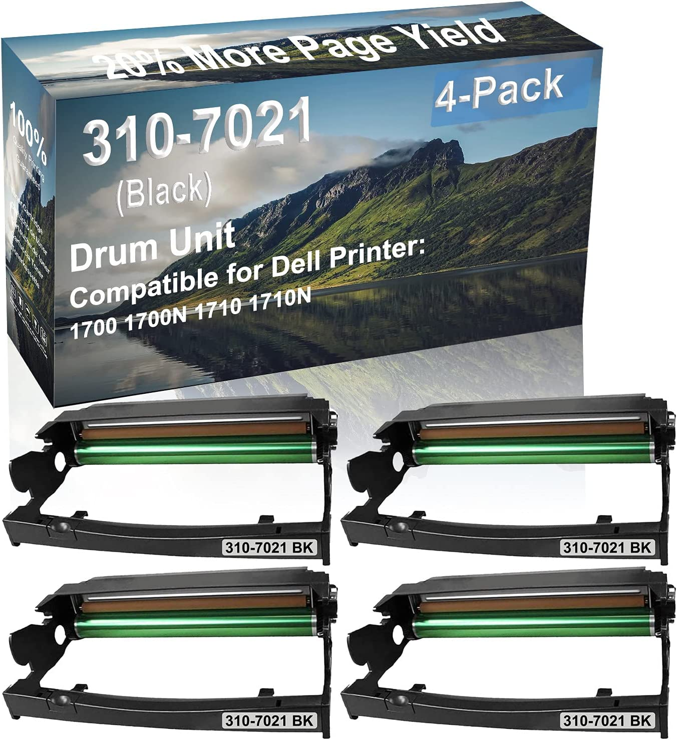 4-Pack Compatible Drum Unit (Black) Replacement for Dell 310-7021 Drum Kit use for Dell 1700 1700N 1710 1710N Printer