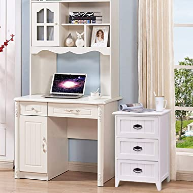 Giantex 3 Drawers Nightstand End Table Bedroom W/Storage, Solid Structure and Stable Frame Elegant Style Organizer Wooden Sid