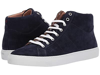 eleventy Mid Top Suede Sneaker (Navy) Men
