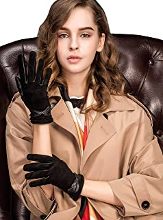 YISEVEN Women's Touchscreen Sheepskin Suede Leather Gloves Bow