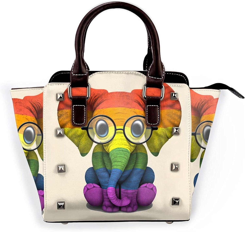 Gay Detroit Mall Max 70% OFF Pride Rainbow Flag Elephant Rivet Leather Handb Bag Shoulder