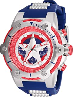 Men's Marvel Stainless Steel Quartz Watch with Silicone Strap, Blue, 30 (Model: 26894)
