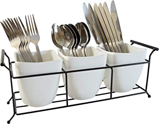 Silverware Caddy Utensil Holder Flatware Caddy White Ceramic Cutlery Organizer