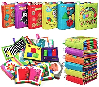 My First Soft BookTEYTOY 6 PCS Nontoxic Fabric Baby Cloth Books Early Education Toys Activity Crinkle Cloth Book for Toddl...