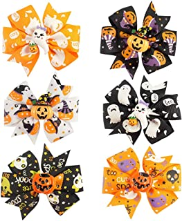 TraderPlus 6 Pcs Baby Girls Kids Halloween Pumpkin Hair Bow Bowknot Hairpin with Clip - 3 inch