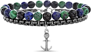 Nautica Black IP Plated Stainless Steel Chain Rope Anchor Charm Green Blue Beaded Layered Bracelet for Men
