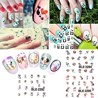 KADS Nail Art Sticker Kung Fu Panda Cartoon Cat and Dog 33pcs 3D Different Kinds of Stickers For Nails Water Transfer - 3 Pack 33 design