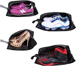 YAMIU Travel Shoe Bags Set of 4 Waterproof Nylon with Zipper for Men & Women (Black)