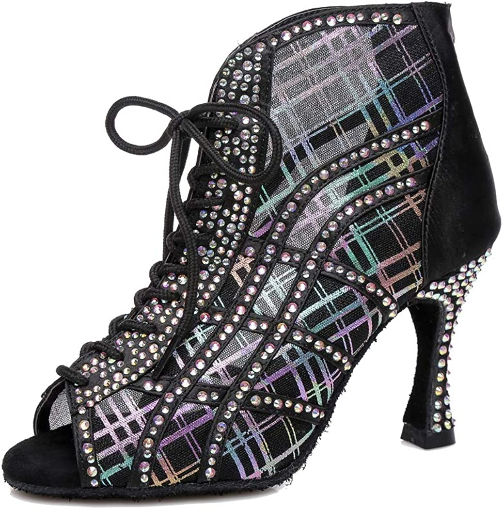 MGM-Joymod Women's Lace-up Zip Flared Heel Glitter Mesh Crystals Tango Dance Shoes Wedding Party Ankle Boots
