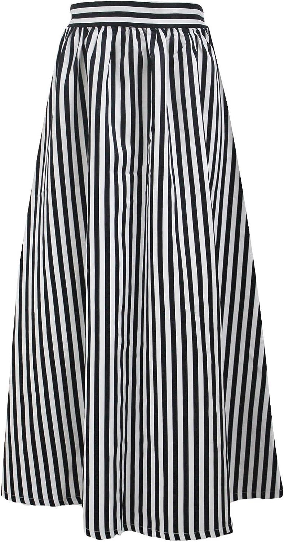 DORISNEE Women's African Print High Waist Maxi Skirt Casual A-Line Long Skirt