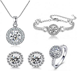 STI-Jewels 4pcs Fashion Crystal Earrings Necklace Set,Round Cut Cubic Zirconia Jewelry Sets for Women Girls