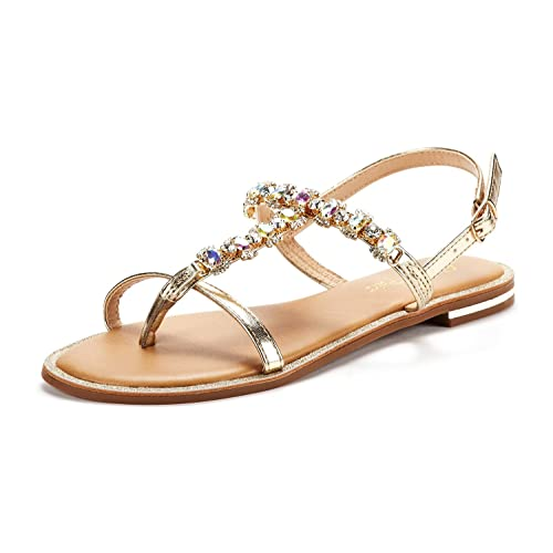 de39f4b58128 DREAM PAIRS SPPARKLY Women s Elastic Strappy String Thong Ankle Strap  Summer Gladiator Sandals