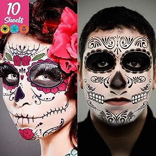 Day of the Dead Face Tattoos Skeleton, dia de los muertos makeup Day of the Dead Makeup,Skeleton Sugar Skull Face Tattoo K...