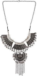 Efulgenz Boho Bohemian Indian Oxidized Silver Jewelry Tassel Choker Statement Necklace