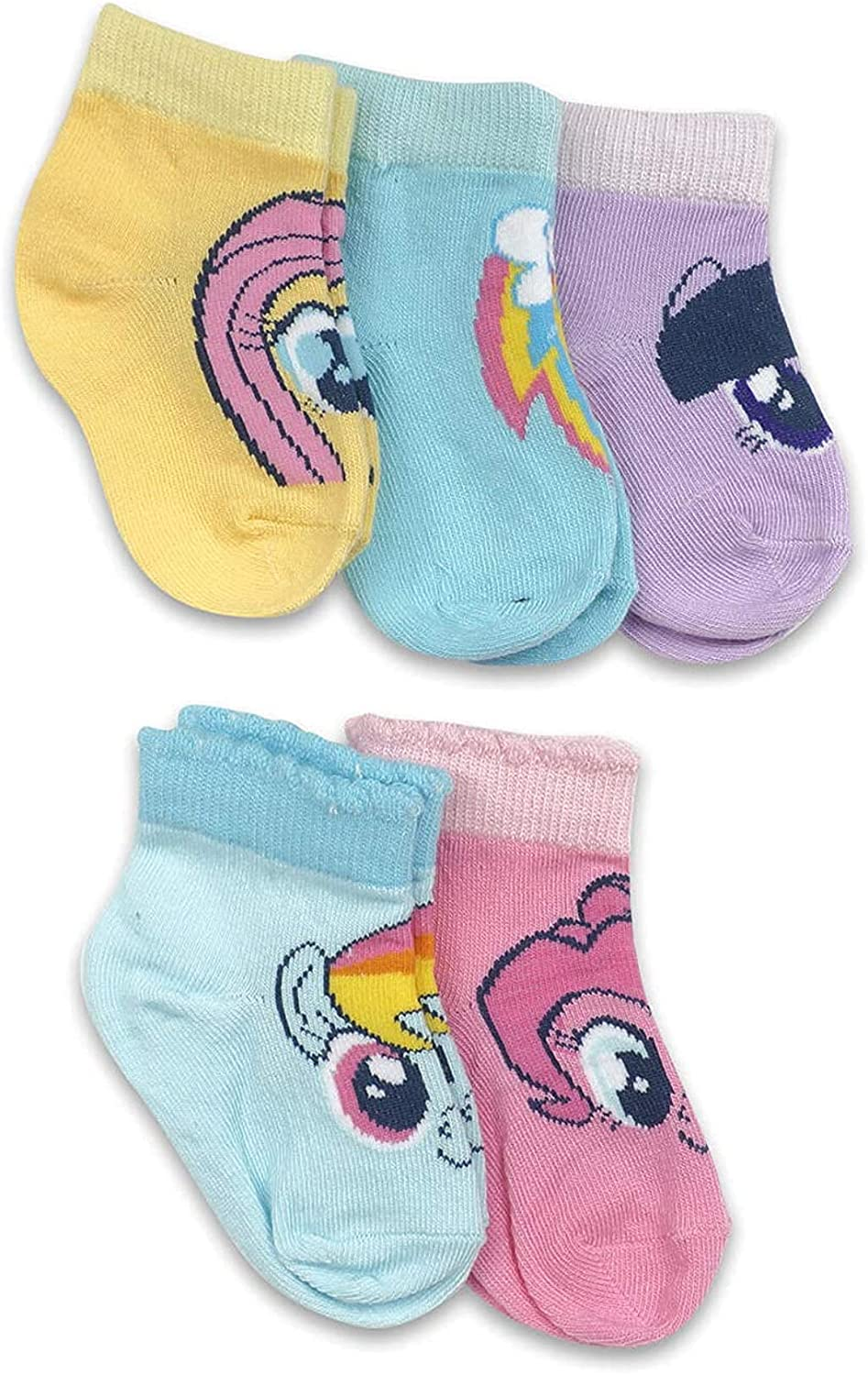 5-Pack My Little Pony Faces Baby Girls' Cuff Socks