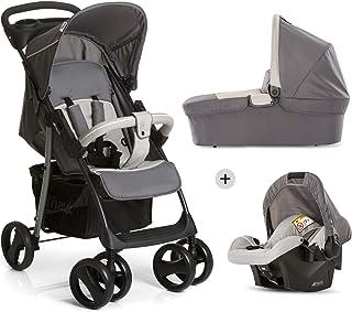 Hauck Shopper SLX Trio Set 3 in 1 Kinderwagen bis 25 kg  Babyschale  Babywanne mit Matratze ab Geburt, Buggy mit Liegefunktion, Getränkehalter, leicht, klein faltbar, stone grey grau