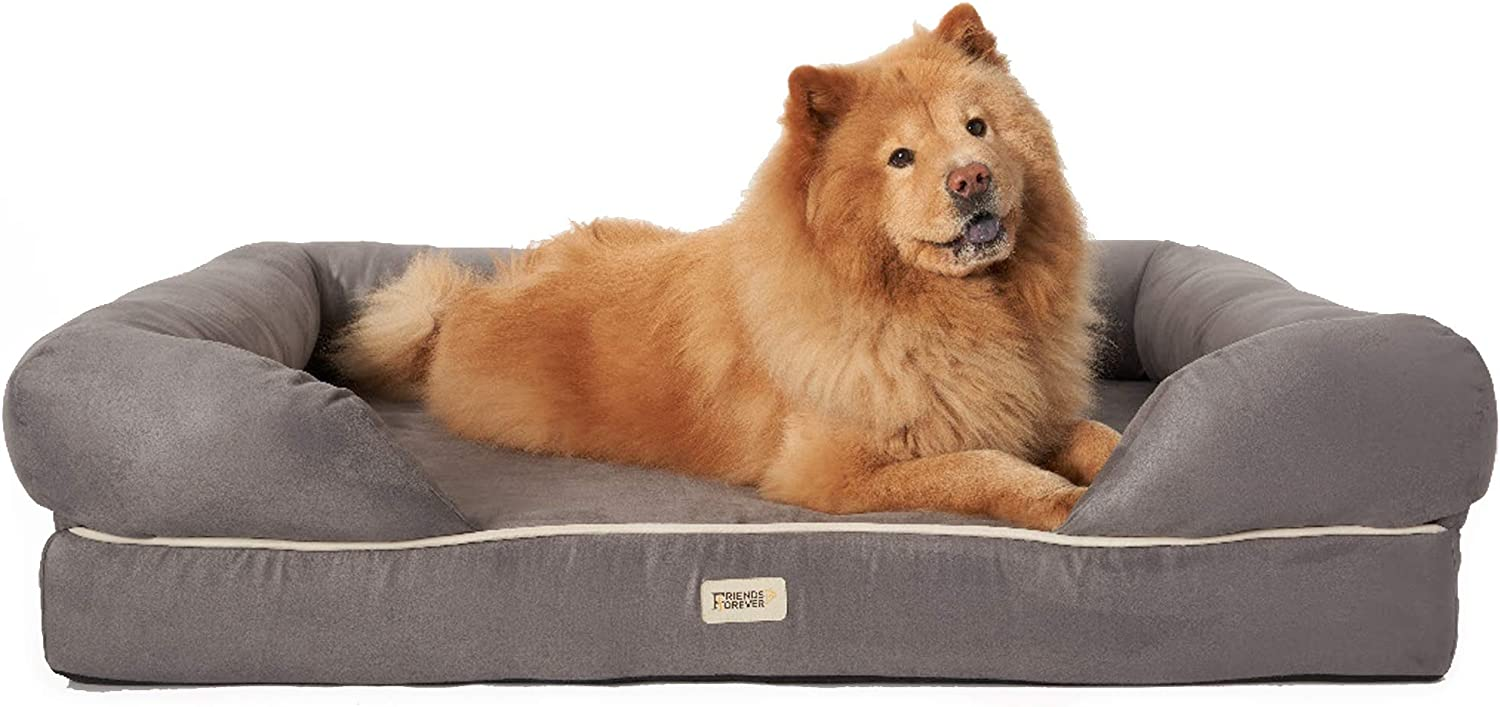 Friends Forever Orthopedic Dog Bed Lounge Sofa Removable Cover 100% Suede 4  Mattress MemoryFoam Premium Prestige Edition 40  x 50  x 13  XXL Pewter Grey