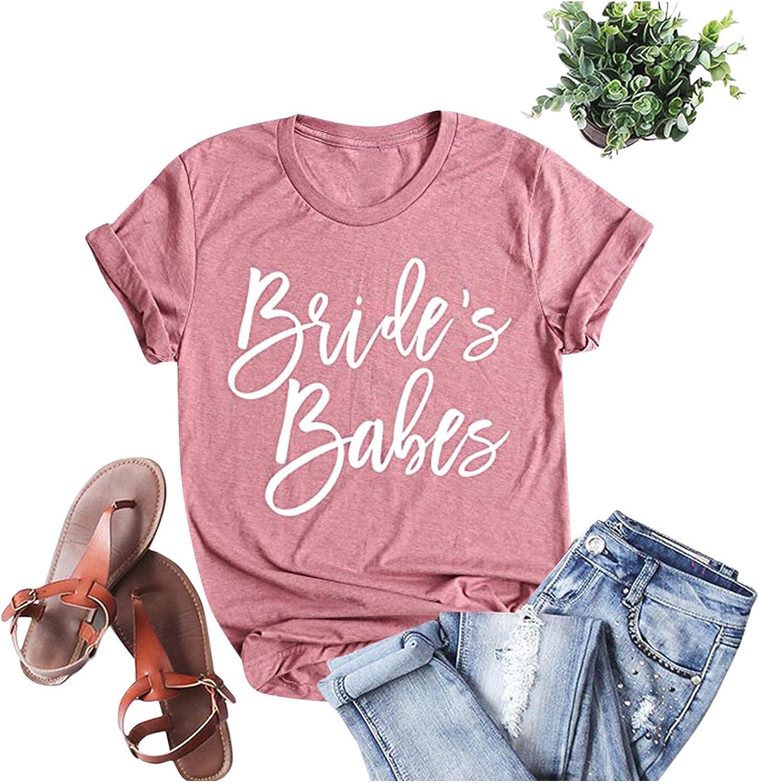 Aukbays Bride T Shirt Bride's Babes Wedding Honeymoon Shirts Women Vacation Bachelorette Party Tees Tops Shirts Blouses