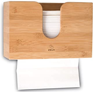 Paper Towel Dispenser Bamboo, Paper Towel Holder Wall Mount & Countertop Toilet Paper Dispenser for Kitchen and Restroom Decor - Holds Multifold Paper Towel, C Fold, Trifold Hand Tissue Napkin