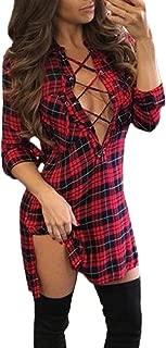 Women Lace Up Shirt Bandage Dress Plaid Checkered Deep V Neck Long Sleeve Bodycon Dress