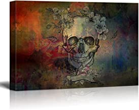 wall26 Canvas Print Wall Art - Day of The Dead (Dia De Los Muertos) Themed Skull with Flowers - Gallery Wrap Modern Home Decor | Ready to Hang - 32x48 inches