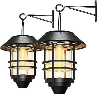 2 Pack Security Solar Hanging Lanterns Outdoor, Solar Wall Lights Outdoor, Solar Porch Lights Outdoor Lanterns 15 Lumen He...