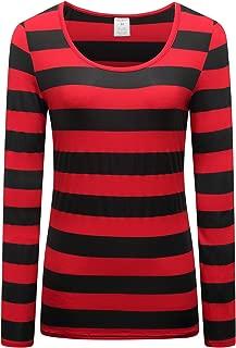 OThread & Co. Women's Long Sleeve Striped T-Shirt Basic Scoop Neck Shirts