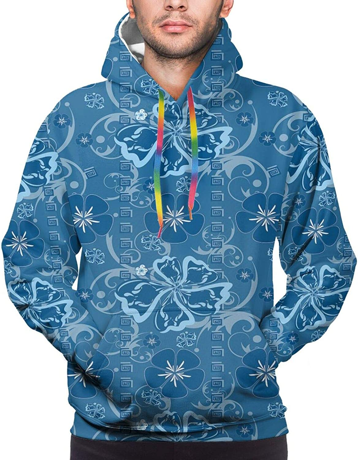 Men's Hoodies Sweatshirts,Polygonal Nature Gradient Effect Blue and Green Tiles with Seagull Motif