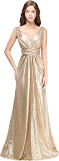Women Sparkly Sequins Bridesmaid Dress Long V-Neck Prom Evening Gown