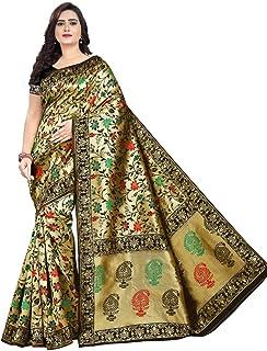 4447cf35fb23a3 Zanzariya creation Women's Handloom weaving with rich zari Saree_Jacquard  Work (Black + Golden)