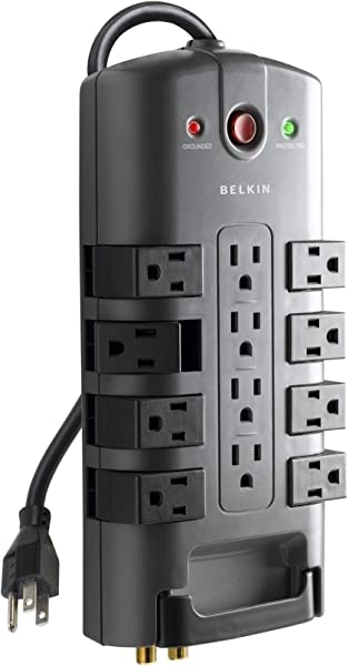 Belkin 12 Outlet Pivot Plug 电源条电涌保护器 W 320 电源线适用于计算机、家庭影院、家电、办公设备及更多 4 焦耳