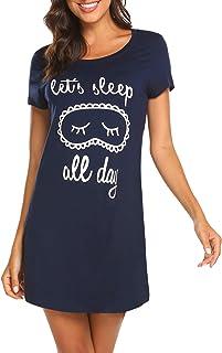قمصان نوم نسائية من Hotouch قمصان نوم لطيفة برقبة مستديرة وأكمام قصيرة مطبوعة ملابس نوم ناعمة XS-XXL