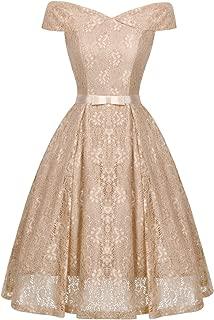 Women's Off Shoulder Vintage Floral Lace A Line Swing Formal Party Cocktail Dress