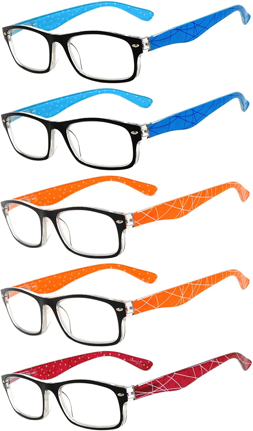 Readers 5 Pack of Elegant Womens Reading Glasses with Beautiful Patterns for Ladies Deluxe Spring Hinge Stylish Look 180 Day Guarantee +2.25