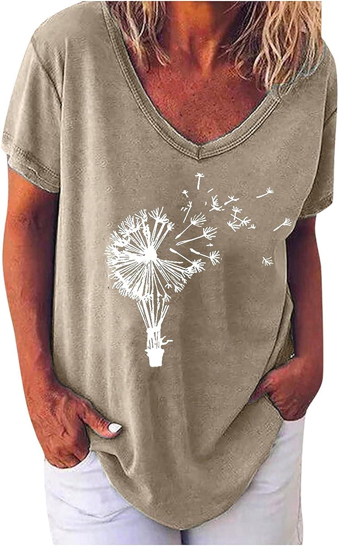 ZEFOTIM Women Casual Summer Solid V-Neck Letter Print Short Sleeves Plus Size Top T-Shirt Blouse