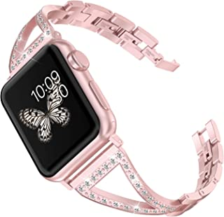 Wearlizer Rose Gold Bling Womens Compatible Apple Watch Band 38mm 40mm iWatch Wristband Replacement Rhinestone Dress Stainless Steel Strap Beauty Jewelry Bracelet Metal New Bangle Series 4 3 2 1
