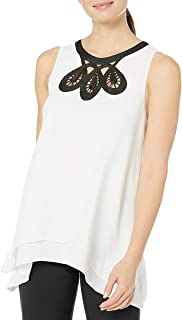 Amazon Brand - Lark & Ro Women's Sleeveless Blouse with Embroidered Neckline