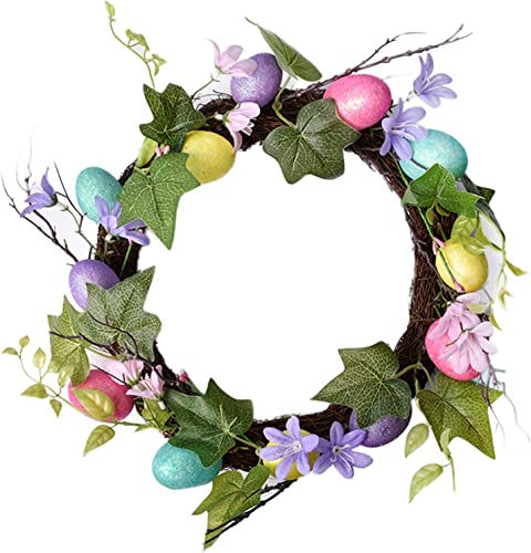lowest 12Inch Artifical Easter Egg Wreath with Mixed outlet sale Flowers, Leaves discount and Eggs, Front Door Hanging Ornament Easter Decoration, Home Decor Artificial Easter Wreath online sale