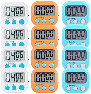 LinkDm 12 Pack Small Digital Kitchen Timer Magnetic Back and ON/Off Switch,Minute Second Count Up Countdown(White,Blue,Orange)