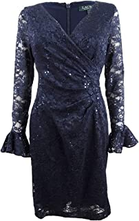 RALPH LAUREN Womens Navy Sequined Floral-lace Long Sleeve V Neck Above The Knee Cocktail Dress US Size: 4