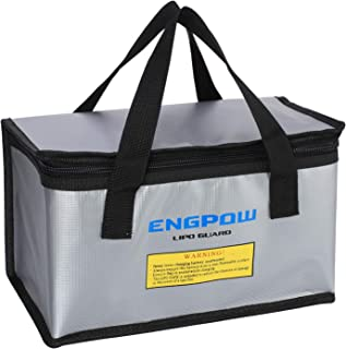 ENGPOW Fireproof Explosionproof Lipo Safe Bag for Lipo Battery Storage and Charging,Large Space Fire and Water Resistant Lipo Battery Guard with Double Zipper(260x130x150mm) (Silver)