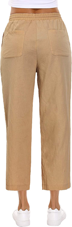 Abollria Femmes Taille Haute Cravate Ceinture Capri Pantalon Dames Mode /éT/é D/éContract/é Pantalon Large Chic Coupe Ample Yoga Gym Pantalon Court avec Poche